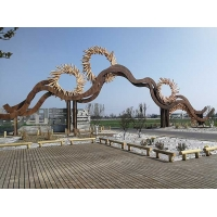艺术钢结构,成都智慧田园木纹艺术牌坊工程
