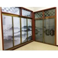 山水画玻璃,定制屏风隔断夹丝玻璃,艺术玻璃
