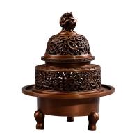 匠铜仿古纯铜香炉 龙纽三足炉线香盘香家用室内香炉檀香炉