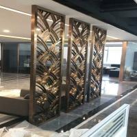 上海大型不锈钢屏风_古铜色格栅_铝雕镂空花格_不锈钢隔断定做