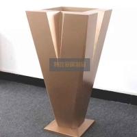 V型玫瑰金不锈钢花盆,特攻定制加工不锈钢花盆,售楼中心大花盆