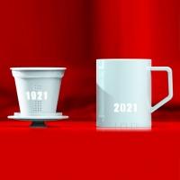 景德镇陶瓷世纪杯玲珑纪念礼盒套装杯茶漏茶杯