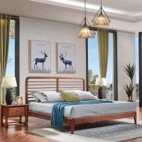 幸福王朝北欧实木床现代简约床卧室家具名宿风格家具
