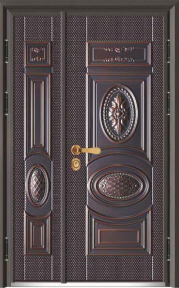 富贵世家J315A-十公分甲级精雕装真**是民族甲门-仿铜+木板