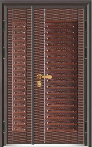 富贵世家J315A-精钢装甲门-10公分甲级-仿铜+木板