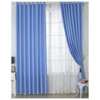 简约现代成品遮光窗帘卧室纯色飘窗落地窗纱帘