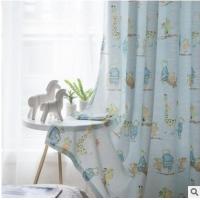 蓝色儿童房小熊大象仿棉麻印花半遮光窗帘