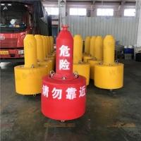 码头抛锚系泊浮鼓,塑料界标警示浮标