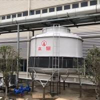嘉兴桐乡化纤厂圆形逆流冷却塔 玻璃钢壳体防水电机