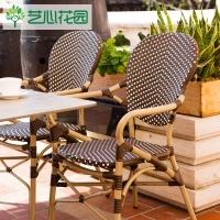室外阳台小藤椅 户外花园藤编家具 藤椅三件套扶手靠背 防水防