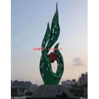 廣場不銹鋼鏤空動物雕塑 彩繪鳳凰雕塑