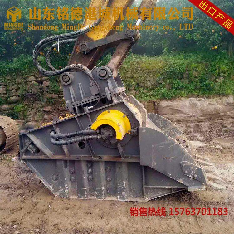 20吨挖掘机建筑垃圾破碎机 水泥块破碎站 建筑渣土处理设备图片