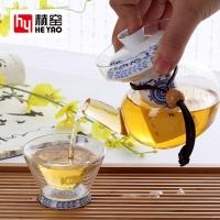 骨瓷玻璃功夫茶具套装竹茶盘骨瓷底玻璃杯泡茶器礼品定制