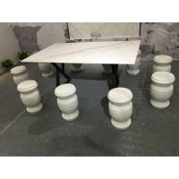 广西白天然大理石桌 石凳