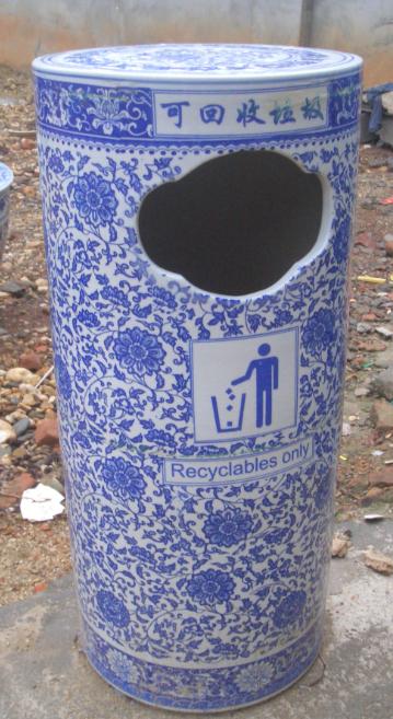 大厅陶瓷垃圾桶加工公园陶瓷果皮箱厂家定制