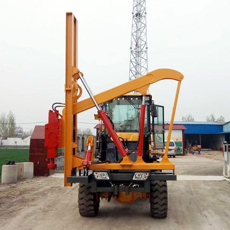 定制裝載機式打拔鉆一體打樁機 高速公路護欄打樁機-- 久勝機械