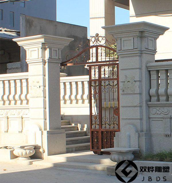 大理石石雕大门别墅摆件门柱地址别墅门柱石雕西山北京柱子方柱图片