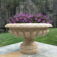 常规石雕花盆 庭院摆放石雕花盆 园林花盆