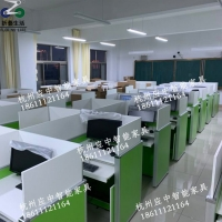 学校多媒体培训桌 屏风升降电脑桌 机考卡座