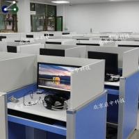 电脑室专用标准化英语听说升降屏风电脑桌