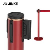 供应金柯不锈钢烤漆红色伸缩带栏杆座lg-0058大堂一米线