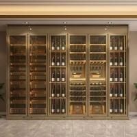 恒溫酒柜一體靠墻現代定制簡約餐邊柜不銹鋼紅酒柜實木定制隔斷柜