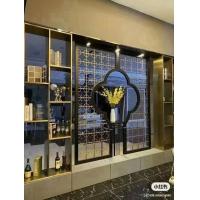 不銹鋼屏風簡約客廳臥室遮擋酒店售樓中心金屬紅古銅鈦金鏤空