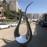 水景镜面不锈钢抽象天鹅雕塑 高端大气