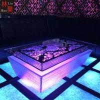 时尚卡拉OK桌子KTV玻璃茶几酒吧led彩色发光吧台夜场包厢