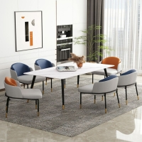 小户型家用长方形网红桌现代简约岩板餐桌椅定制岩板餐桌椅