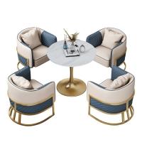 雪山白岩板圆桌价格轻奢岩板奶茶店桌椅产品卡座沙发供应商