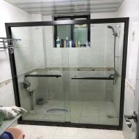 红房子淋浴房不锈钢一字淋浴隔移门卫生门钢化玻璃浴屏