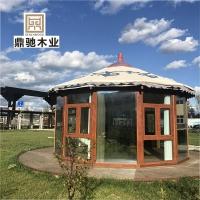 预建制木结构庭院圆形凉亭罗马帐篷蒙古包露天玻璃阳光房移动房子
