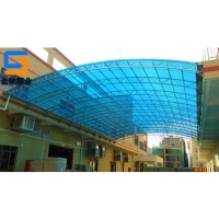 陽光板鋼棚定做安裝 膜結構體育看臺 門頭雨棚 車棚 景觀棚