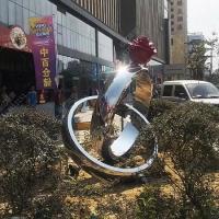 不锈钢玫瑰花戒指雕塑商场景点支持来图定制