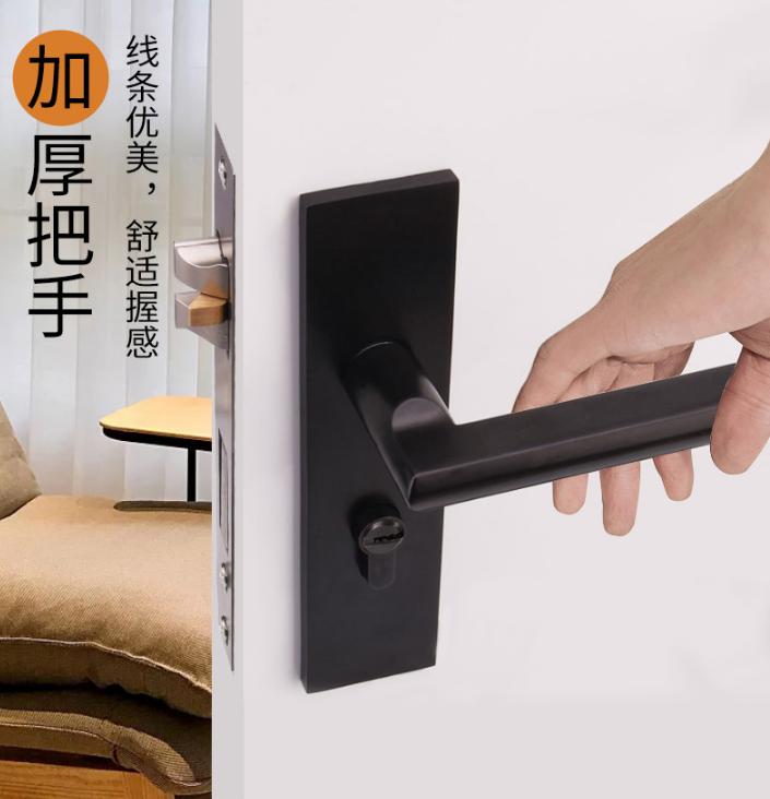 固特门锁室内卧室房门锁美式黑色实木门把手静音分体锁