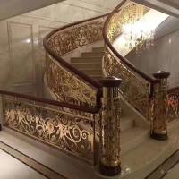 铜镀金护栏 镜面铜艺楼梯是一种艺术