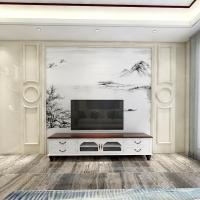 简约现代客厅电视背景墙 高温烧大理石山水画护墙板 罗马柱定制