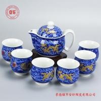 双层陶瓷茶具套装图片