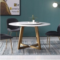 后现代轻奢不锈钢圆形简约大理石餐桌椅组合设计师创意餐桌饭桌
