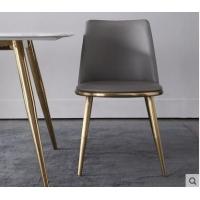 轻奢餐椅后现代酒店咖啡厅吧椅家用不锈钢镀金ins风设计师餐椅