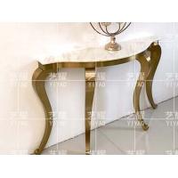 轻奢后现代大理石玄关台隔断条案金属不锈钢装饰桌子入户门厅定制